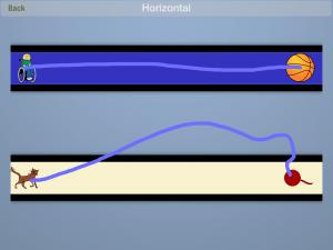 لعبة المسارات تظهر بالصورة مسارين احدهما تم وصله بشكل صحيح والأخر متعرج