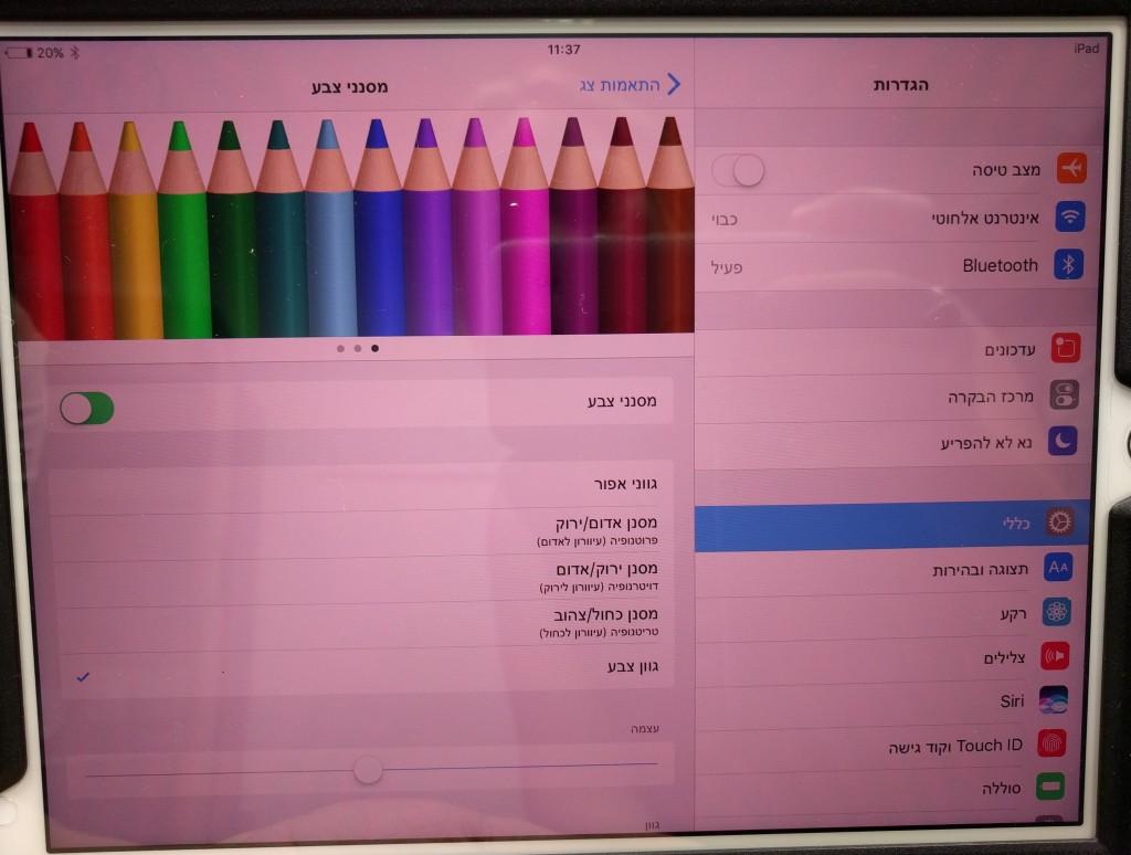 מסך עם גוון צבע קבוע. ניתן לשנות ולהתאים את גוון הצבע ועוצמתו.