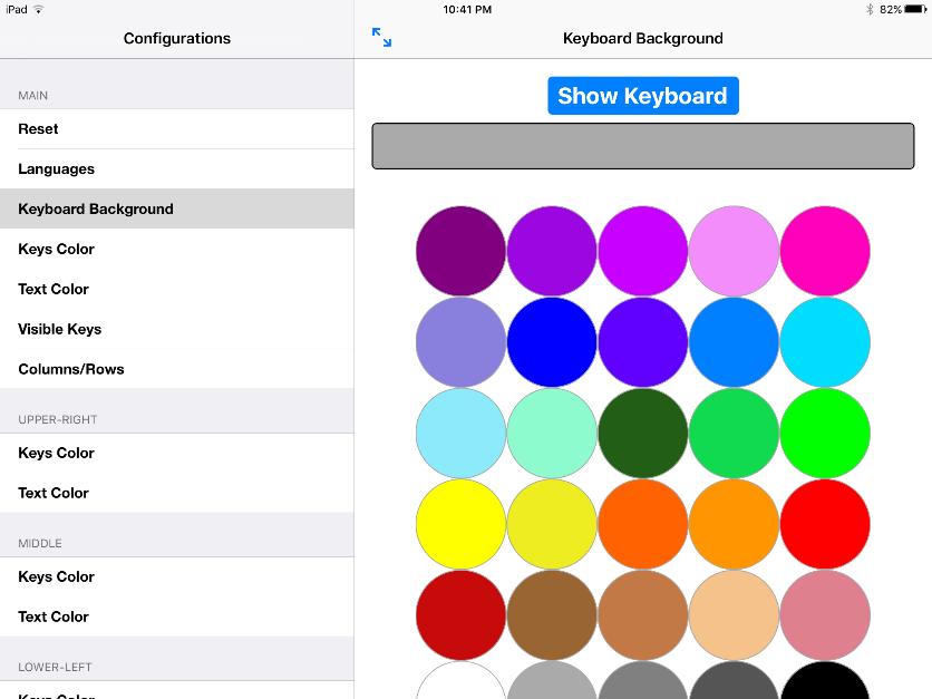 Key Color, Letter Color, Keyboard Background Color