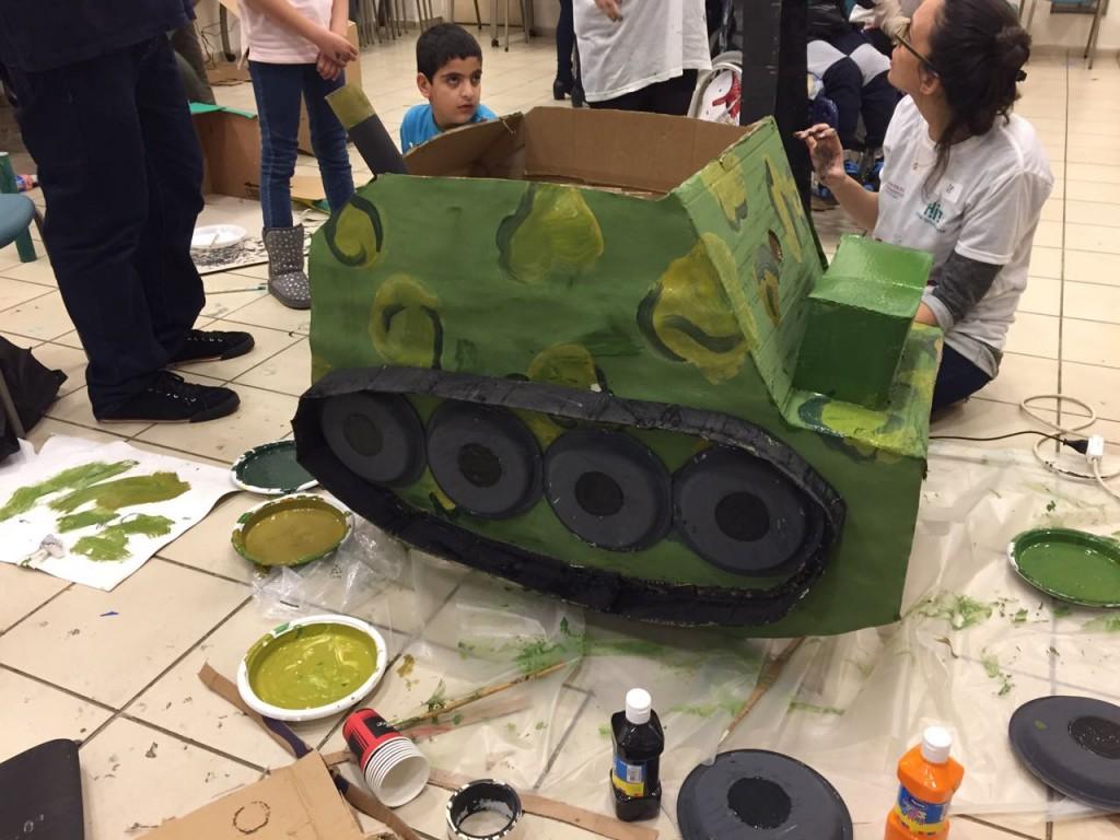 The walker is inside the tank