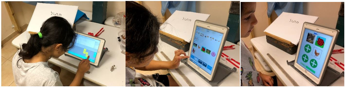 A student using IssieBoard to type search words into Google, looking for the pictures she chose among the device's gallery photos, and creating a die in IssieDice for her activity.