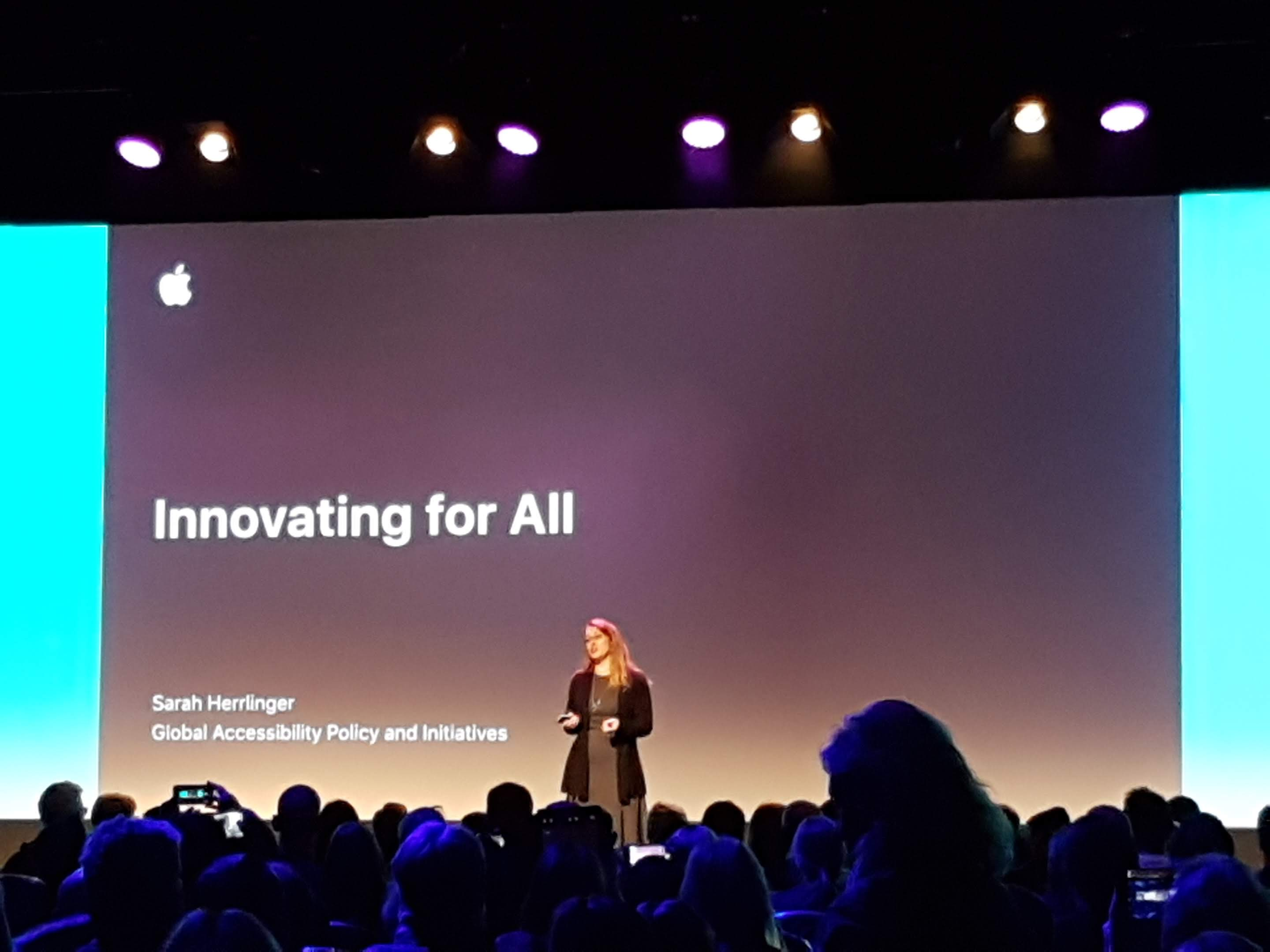 Sarah Herrlinger, Apple's Director of Global Accessibility Policy and Initiatives, speaking about Apple's accessibility features
