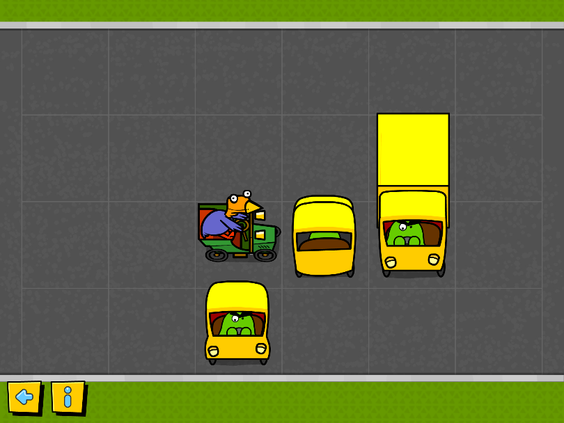 Block-a-doodle-doo app – moving cars and trucks out of the way  so chicken can drive on through