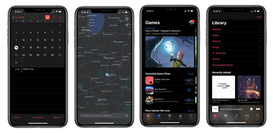 Screenshots of an iPhone in Dark Mode: Calendar, Maps, App Store, and Music