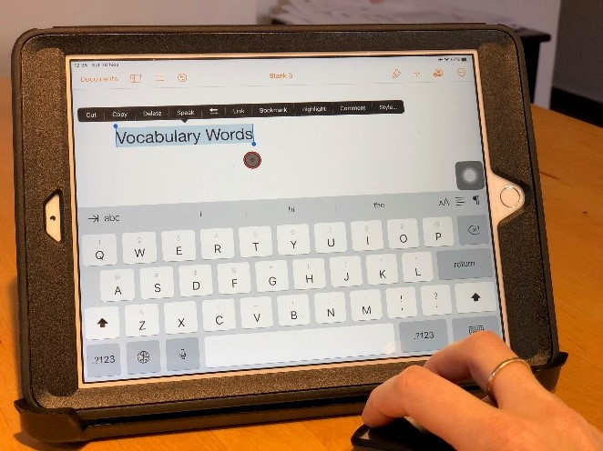 Using a regular Bluetooth mouse with an iPad to edit text in the app Pages