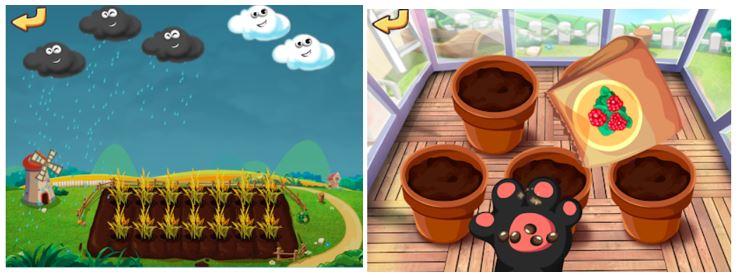 صور من تطبيق Dr. Panda Veggie Garden اثناء زرع البذور وريها