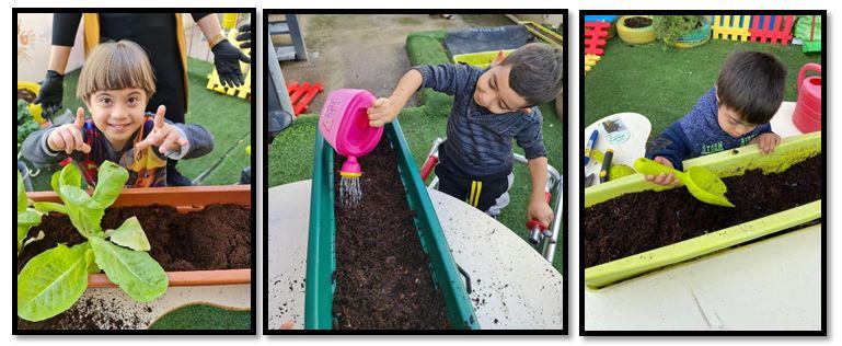 ילדי מרכז סינדיאן נהנים לשתול, להשקות ולטפל בצמחים