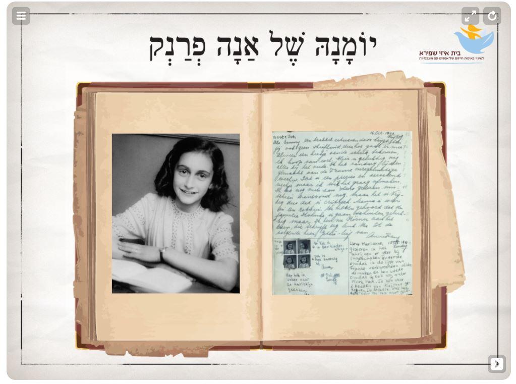 תמונת השער של הפעילות על אנה פרנק