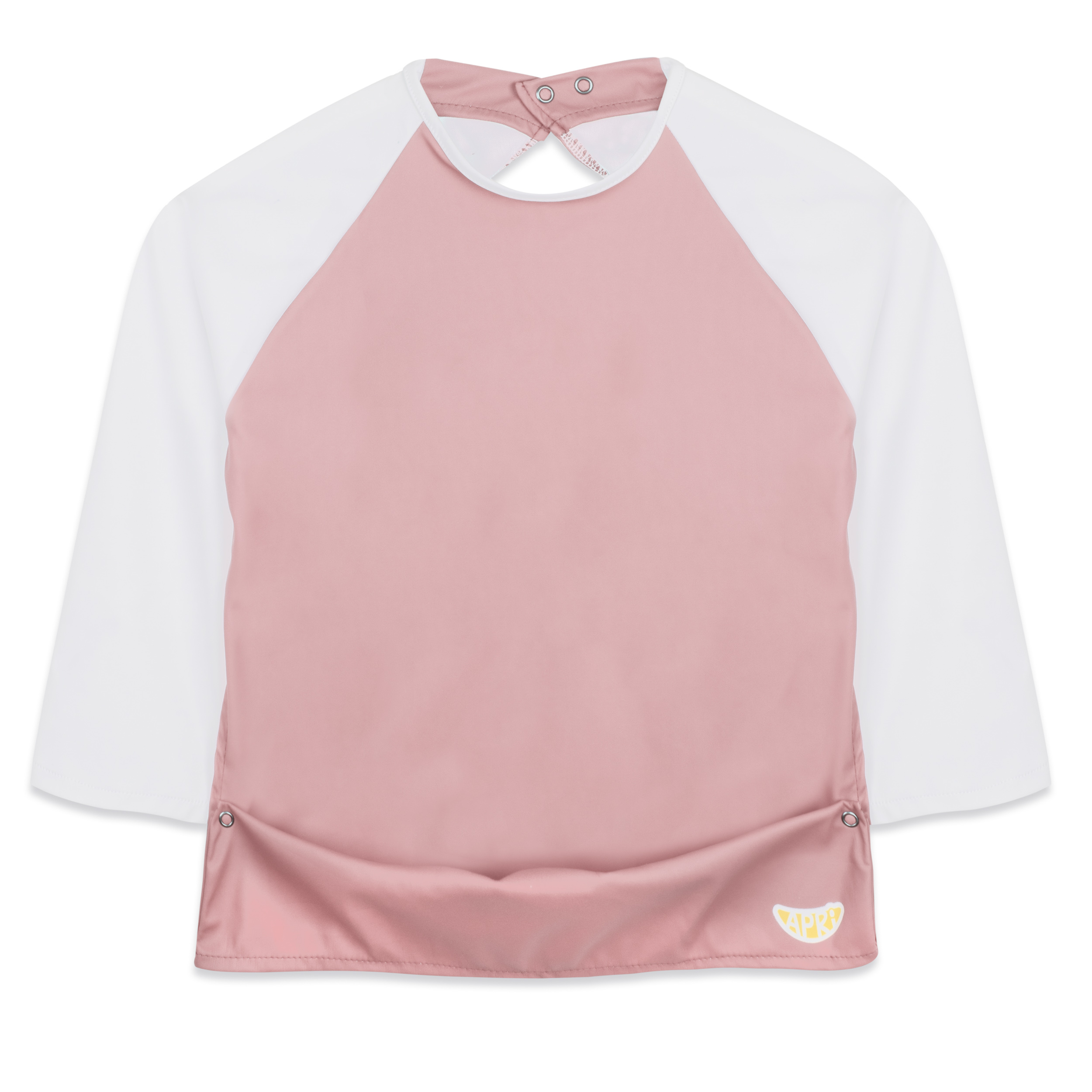 סינר חולצה בצבע ורוד, שרוולים בצבע לבן, ללא הדפס